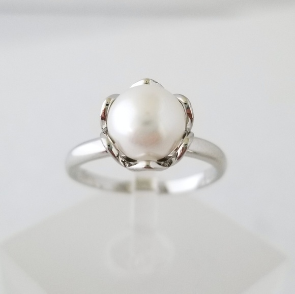 18k Over Sterling Pearl Ring